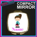 BROWN HAIR GIRLS PERSONALISED NAME COMPACT LADIES METAL HANDBAG GIFT MIRROR - 150927193923
